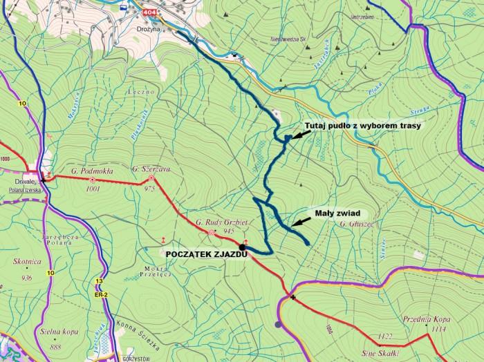 Track ze zjazdu naniesiony na mapę.